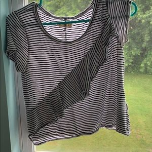 hollister black and white striped ruffle top